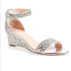 EUC bp. Silver Sparkly Roxie Wedge